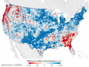 Χάρτης των ΗΠΑ με τις περιοχές επιτάχυνσης και επιβράδυνσης του υδρολογικού κύκλου.
